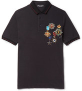 Dolce & Gabbana - Contrast-tipped Printed Cotton-piqué Polo Shirt