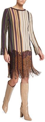 Etro Striped Paisley Long-Sleeve Dress with Fringe