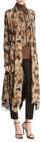 Fuzzi Long Open-Front Graphic-Print Cardigan, Camel