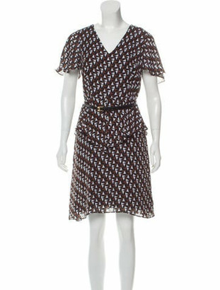 Duro Olowu Printed Knee-Length Dress w/ Tags Brown