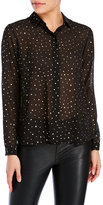 Yumi Gold Foil Dot Sheer Shirt