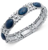 Nine West Rose Gold-Tone Blue Stone Stretch Bracelet