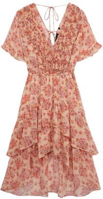 The Kooples Ruffle Floral Midi Dress