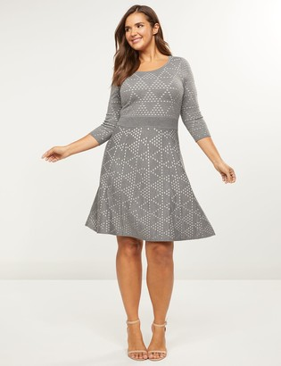 Lane Bryant Dotted Triangle Fit & Flare Sweater Dress