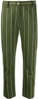Derek Lam 10 Crosby Cropped Cotton Sateen Striped Straight Leg Trouser