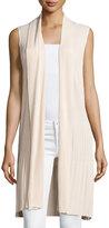 Neiman Marcus Long Ribbed-Knit Open Vest, Tan