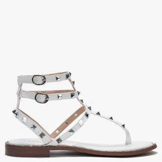 Df By Daniel Cube White Square Studded Gladiator Sandals