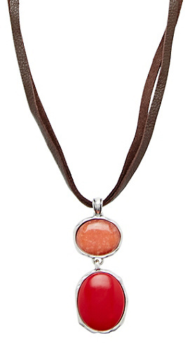 Lucky Brand Coral Colorblock Necklace