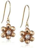 Cherry Brown 10 ct Yellow Gold Rosecut Diamond Small Flower Drop Earrings