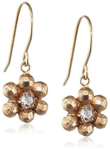 Cherry Brown 10 ct Yellow Gold Rosecut Diamond Small Flower Drop Earrings