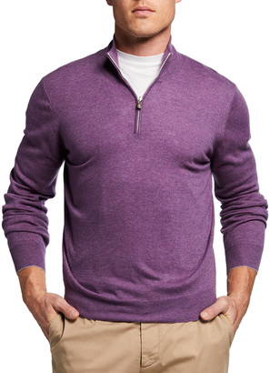 Brunello Cucinelli Men's 2-Ply Cashmere Quarter-Zip Sweater