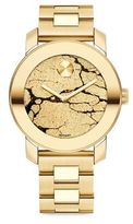 Movado Bold Crackle Goldtone IP Stainless Steel Bracelet Watch