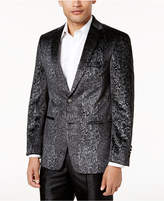 Tallia Men's Slim-Fit Black Snakeskin-Print Velvet Dinner Jacket