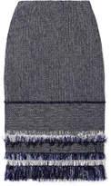 Roland Mouret Cotton-blend Bouclé-tweed And Crepe Skirt - Midnight blue