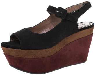 Marni Tri Color Suede Slingback Wedge Sandals Size 36