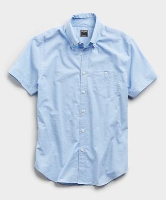 Todd Snyder Saint Tropez Button Collar Short Sleeve Shirt in Light Blue