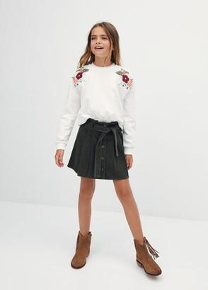 MANGO Corduroy cotton skirt khaki - 5 - Kids