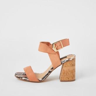 River Island Womens Pink cork block heel wide fit sandals