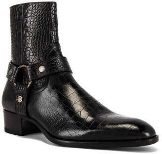 Saint Laurent Wyatt 40 Harness Boot in Black | FWRD