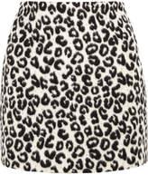 Maje Leopard-print Brushed-felt Mini Skirt