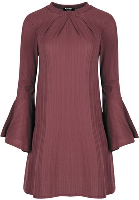 Be Jealous Womens Ribbed Long Bell Sleeve Ruched Swing Dress Dusty Pink M/L (UK 12/14)