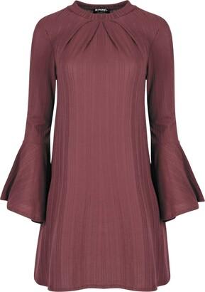 Fashion Star Womens Rib Long Bell Sleeve Ruched Swing Dress Black S/M (UK 8/10)