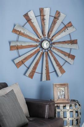 Uma Grey Farmhouse Round Iron Windmill Wall Clock