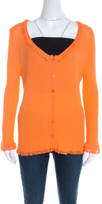 Escada Orange Rib Knit Crochet Trim Button Front Cardigan L