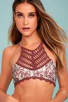 MinkPink Feather Palm Plum Purple Print Bikini Top
