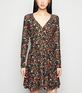 New Look Floral Button Front Mini Dress