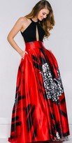 Jovani Dramatic Print Satin Halter Gown