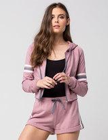 Socialite Knit Stripe Womens Zip Hoodie