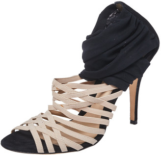 Fendi Black/Beige Fabric Strappy Sandals Size 40