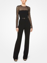 Michael Kors Stretch Wool-Crepe and Lace Jumpsuit