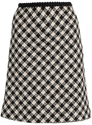 Miu Miu Tweed Vichy Wool-Blend A-Line Skirt