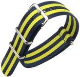 AUTULET Dark Blue/Yellow Luxury Exquisite Men's one-piece NATO style Nylon Perlon Watch Bands Straps Textile