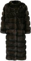 Simonetta Ravizza long panelled fur coat