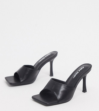 Public Desire Wide Fit Harlow mule with square toe in black