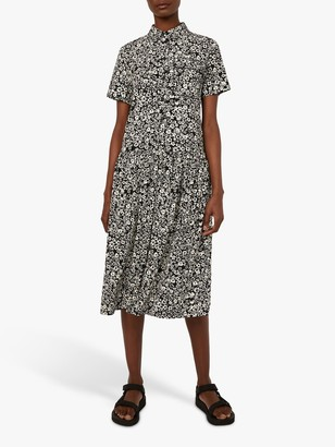 Warehouse Floral Print Shirt Midi Dress, Black