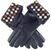Black Harlequin Silk Lined Leather Gloves