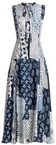 Oscar de la Renta Patchwork Silk Midi Dress