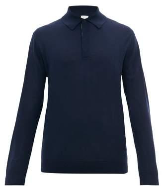 Paul Smith Long-sleeved Merino-wool Polo Shirt - Mens - Navy