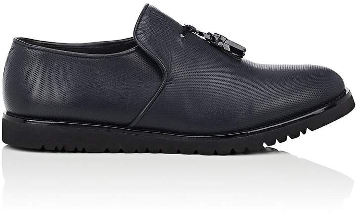 Emporio Armani Men's Tassel-Detailed Perforated Leather Loafers