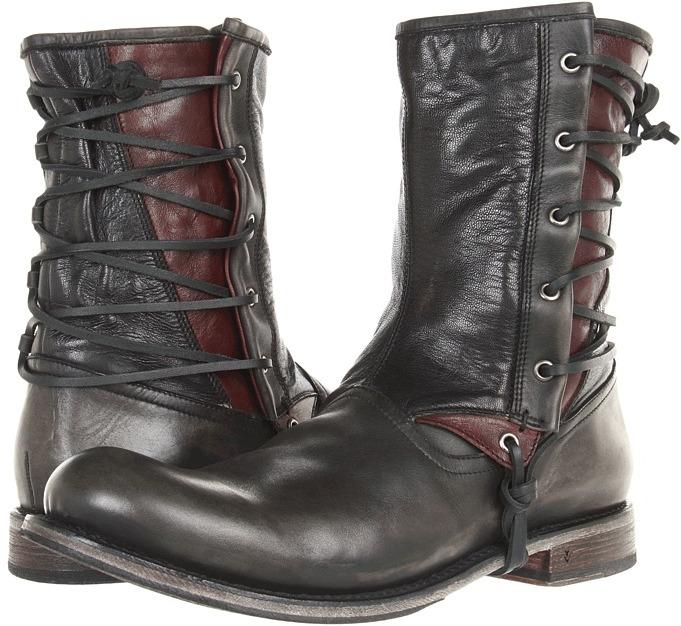 John Varvatos Engineer Laced Boot (Lead) - Footwear