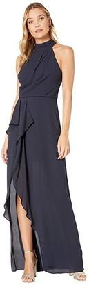 Halston Sleeveless Mock Neck Gown with Drape Front Detail (Dark Navy) Women's Dress