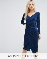 Asos Long Sleeve Wrap Pencil Dress
