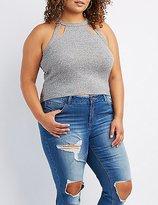 Charlotte Russe Plus Size Bib Neck Cut-Out Crop Top