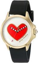 Juicy Couture Women's 'Jetsetter' Quartz Gold-Tone and Silicone Quartz Watch, Color:Black (Model: 1901420)