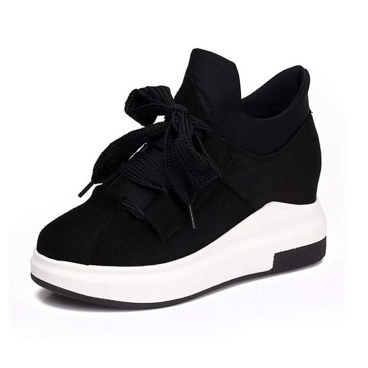 1ece56586c97e U-MAC Womens Wedge Platform Sneakers Fashion Retro Vintage Lace Up Rubber  Sole Fabic Breathable Walking Shoes