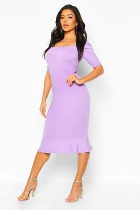 boohoo Jumbo Rib Peplum Hem Midi Dress